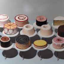 "Wayne Thiebaud artwork, ""Cakes."" Image by Pplachigo, Wikimedia Commons."