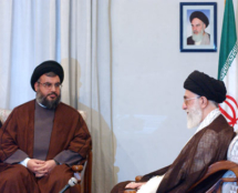 Hassan Nasrallah (left) and Iranian Ayatollah Ali Khamenei. Image on Wikimedia Commons.