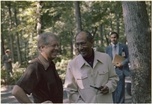 Jimmy Carter (left) with Anwar Sadat. National Archives and Records Administration image, Wikimedia Commons.