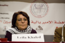 Leila Khaled. Image by Sebastian Baryli, Wikimedia Commons.