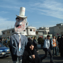 An anti-U.S. rally witnessed in Tehran during the 2004 trip to Iran.